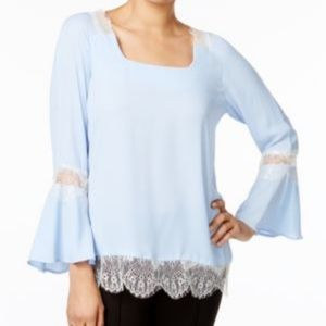 NWT NY Collection Blue lace peasant top sz M